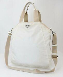 Authentic PRADA Off White Nylon 2-Way Shoulder Tote Bag Purse #40417