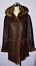UD UTEX DESIGN SZ M DARK BROWN LEATHER SHEARLING SHIPSKIN LONG HOODED COAT