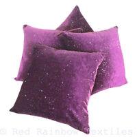 Set of 4 Starry Night Sparkle Purple 17 inch Velvet Bling Sequin Cushion Covers