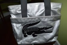 """LACOSTE BAG HOLDALL TECHNO LARGE CROC SILVER/ BLACK 14"""" X 12"""" X 4.5""""  NEW"""