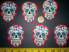 Sale! New! Cool! Sugar Skulls Iron-on Fabric Appliques ~ Iron ons
