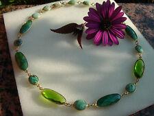 Halskette mit Peridot-Quarz, Smaragd und Chrysopras, grün