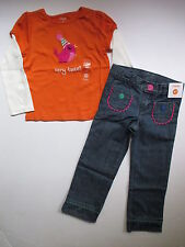 Gymboree Sweet Music Orange Party Bird Tee Shirt Top Jeans Set Girls 5T NEW NWT