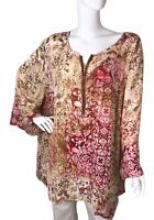 Catherine's sz 4X 30/32 Wearable Art Beaded Old World Mixed Print Tunic Blouse