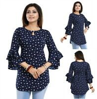 Women Indian Kurti Tunic Kurta Shirt Dress Printed Frilled Sleeves Top SC2492