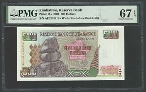 Zimbabwe 500 Dollars 2001 P11a Uncirculated Grade 67
