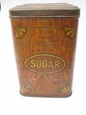 Vintage - Very Old Sugar Tin - Brown Colour