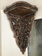 BRAND NEW ANTIQUE STYLE MANGO WOOD WALL / FLOATING CORNER SHELF HAND MADE&CARVED