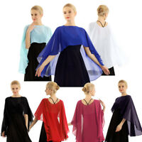 Women's Chiffon Bridal Wrap Wedding Shawl Cape Jacket Bolero Shrug for Dress