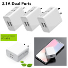 Lot Dual Ports White 2.1A USB Power Adapter AC Home Wall Charger Plug Universal