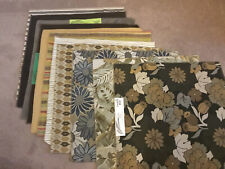 "11 Lot Of Sample Upholstery Fabric 26"" Square Assorted~ Floral, Solid, Stripes"