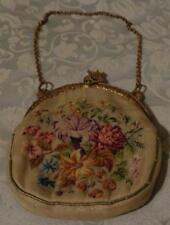 Antique Embroidered Fabric Evening Bag - Very Small Size - Gorgeous Detail -Vgc