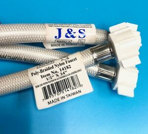 "J&S 4 pack Braided Poly Nylon Faucet Supply 1/2 x 24""  Length"