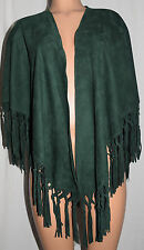 ERMANNO DAELLI GREEN SUEDE LEATHER FRINGED SHAWL WRAP PUNCHO STYLE