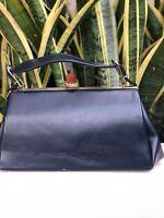 Vintage Navy Blue Leather Handbag Bag Purse Satchel 50s 60s Bakelite Gold Clasp