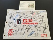 Signed 2019 Tour Championship Flag, Mcilroy, Koepka, Presidents Cup Team JSA/LOA