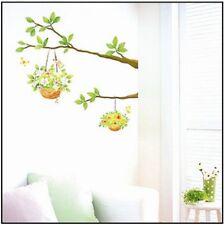 Green Flower Pot Hanging On The Tree Wall Sticker Decal Vinyl Art Home Decor