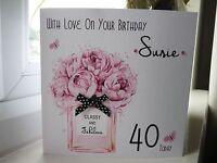 Handmade Personalised Female Perfume Birthday Card 18th 21st 30th 40th 50th 60th