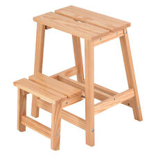 2 Tier Solid Wood Step Stool Folding Ladder Bench Seat Kitchen Chair Furniture