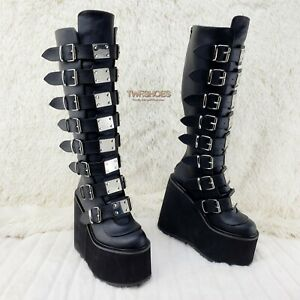 "Trinity Swing 815 Black Matte Goth Knee Boot 5.5"" Platform  RESTOCKED NY"