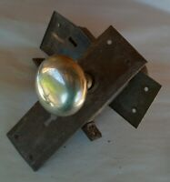 Rusty VTG Hardware Mortise Lock Escutcheon Plate Chrome Door Knobs 2 Back Plates