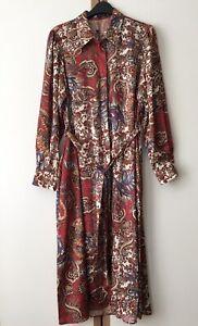 ZARA RED PRINTED SHIRT DRESS WITH BELT SIZE L 12