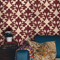 Portofino Wallpaper Gold Metallic Textured Burgundy Flocking Damask Velvet Rolls