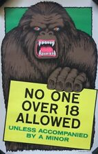 original blacklight vintage poster No One Over 18 Allowed Gorilla Enter Sign 70s
