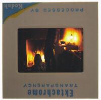 1970's Hippy Wood Stove Commune Kodak Ektachrome 35mm Slide Vtg Orig Stock Photo