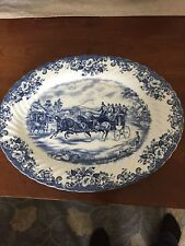 JOHNSON BROTHERS china COACHING SCENES Blue Oval Serving Platter - 13-7/8""