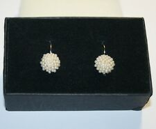 Created White Pearl Cluster Leverback Drop Earrings 14k Yellow Gold over Base