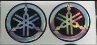 Coppia stemmi stemma diapason Adesivo Logo YAMAHA resinato Sticker Diametro 48mm