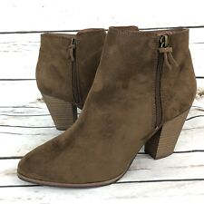 New Merona 9.5 Ankle Boots Brown Faux Suede Leather Side Zipper Heel Booties