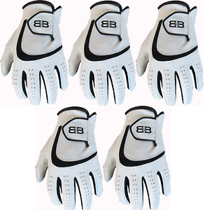 5 Back to Back All Weather Golf Gloves Cabretta Leather Palm Patch Mens Gents