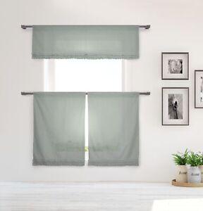 "Cotton Shabby Chic Gray 3 Pc Curtain Set Gray Pleated Ruffles Valance, 36"" Tiers"