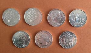 un lot de 7 pièces de 100 Francs en ARGENT voir détail
