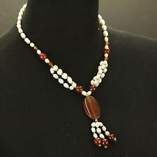 Genuine PEARL & CARNELIAN Kuchi Tribe BellyDance ATS Central Asia NECKLACE 806j1