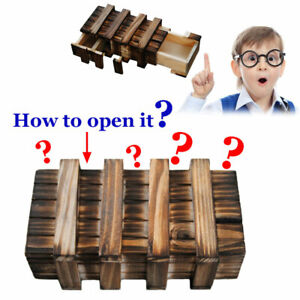 Magic Compartment Wooden Puzzle Box With Secret Drawer Brain Teaser Toys AU Hot