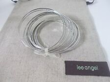 Lee Angel Textured Silver thin Multi Stackable bangle of 12 Bracelet NWT $110