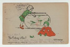 [21147] 1907 POSTCARD YOUNG GIRL FISHING IN A FISH BOWL