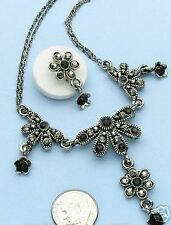 Victorian Style Antique Silver Crystal Jet