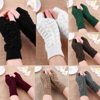 Womens Ladies Thermal Fingerless Winter Warmer Knitted Casual Gloves Mittens AU