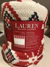 RALPH LAUREN Red Black Cream THROW BLANKET NEW So Soft! High Quality