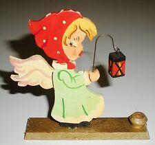 Vintage Wood Erzgebirge Flat Angel Lantern Fretwork Christmas Ornament W Germany