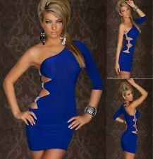 Sz 10 12 Blue One Shoulder Cocktail Party Slim Fit Sexy Club Bodycon Dress Chic
