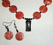 BLACK AGATE and SHELL HANDMADE NECKLACE with EARRINGS