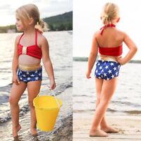 2PCS Kids Baby's Girls Swimwear Straps Swimsuit Bathing Bikini Beach Vest+Shorts