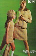 "1759 Ladies Girls DK Jacket, Top, Skirt & Hat 24-38"" Vintage Knitting Pattern"