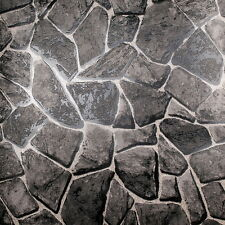 Modern Rustic Black Rock and Stone Wall Wallpaper Roll Vinyl Emboss 3D Textured