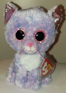 """NEW Ty Beanie Boos - CASSIDY the 6"""" Purple Cat 2021 NWT's - Plush Toy - IN HAND"""